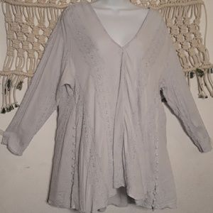 Free People light blue embroidered buttons tunic